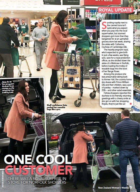 ??  ?? Aisle do it! The pregnant duchess took charge as she unloaded her healthy haul. Shelf confidence: Kate packed her reusable bags like a pro.
