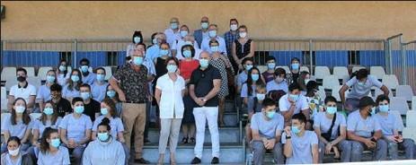 ??  ?? Les 15 ans du dispositif «Chantiers Jeunes» du Grand Narbonne l'an dernier à Ouveillan, le 27 août (crédit photo Le Grand Narbonne)