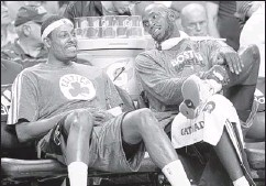 ??  ?? ASSOCIATED PRESS FILES Boston will be starting over without perennial All-Stars Paul Pierce (left) and Kevin Garnett after the Celtics reached a deal to trade them to the Brooklyn Nets.