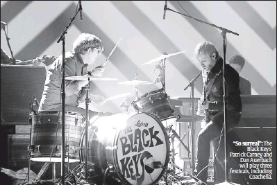 """?? By Chris Pizzello, AP ?? """"So surreal"""": The Black Keys' Patrick Carney and Dan Auerbach will play three festivals, including Coachella."""