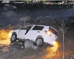 ?? EFE ?? El vehículo del accidente en Huila de la diplomática.