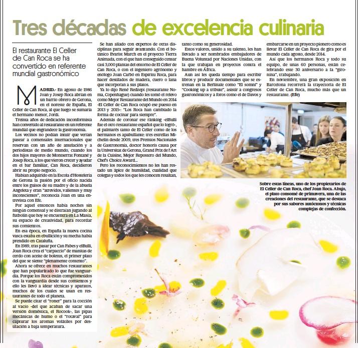 ??  ?? (Efe) Sobre estas líneas, uno de los propietarios de El Celler de Can Roca, chef Joan Roca. Abajo, el plato consomé de primavera, una de las creaciones del restaurante, que se destaca por sus sabores autóctonos y técnicas complejas de confección.