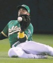 ?? Jed Jacobsohn / Associated Press ?? A's outfielder Ramón Laureano catches a flyball hit by the Jays' Santiago Espinal.