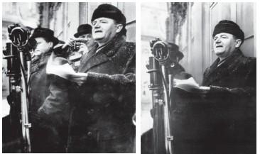 ??  ?? Éliminé. À g., en février 1948, à Prague, les dirigeants tchèques Gottwald (en toque, 1er plan) et Clementis (2e plan) apparaissent côté à côte. À dr., après sa condamnation à mort en 1952, Clementis disparaît des photos officielles.
