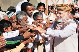?? PHOTO: PTI ?? Prime Minister Narendra Modi during his campaign for Gujarat Assembly elections, in Bhuj on Monday