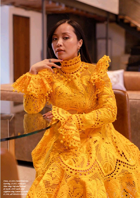 ??  ?? Dress, £2,600, ZIMMERMANN. Earring, £5,967, ANITA KO. Blue rings (top and bottom of stack), £905 each, and sapphire ring (centre of stack), £1,208, all ERINESS JEWELRY