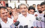 ?? RAKESH MUNDYE/HT ?? Parrikar after meeting BJP MLAs and alliance partners regarding the selection of the next Goa CM, on Friday.