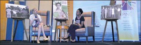??  ?? Civil rights leader Gloria Richardson Dandridge, left, gives an oral history Thursday, July 20, in Cambridge as part of the Reflection on Pine four-day event. Co-organizer Kisha Petticolas, right, was the night's moderator.