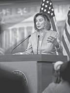 ?? J. SCOTT APPLEWHITE/ AP ?? Speaker of the House Nancy Pelosi, D- Calif., insists on linking two spending legislative packages.