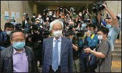 ?? PTI ?? Pro-democracy activists Martin Lee, center, and Albert Ho, left, arrive at a court in Hong Kong Friday