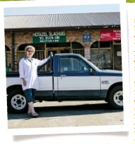 """??  ?? Annatjie Liebenberg and her """"blue wagon"""", a 1987-model Isuzu, are pretty much an institution in Hotazel. When the bakkie was stolen a few years ago, the entire town was incensed and everyone joined in the search. The vehicle was tracked down within..."""