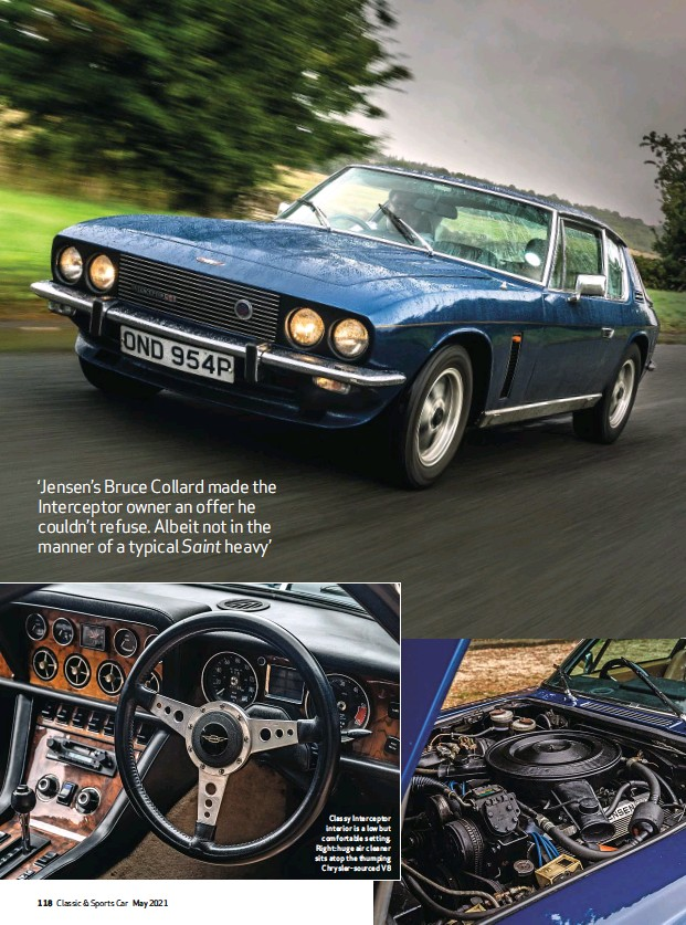 ??  ?? Classy Interceptor interior is a low but comfortable setting. Right: huge air cleaner sits atop the thumping Chrysler-sourced V8