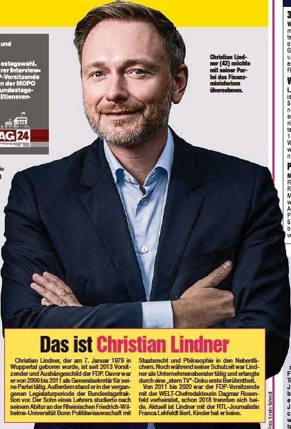 ?? ?? Christian Lindner (42) möchte mit seiner Partei das Finanzministerium übernehmen.