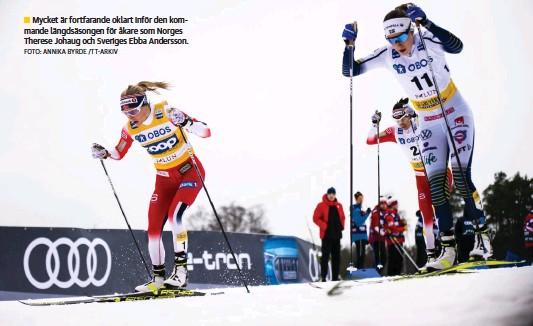 ?? FOTO: ANNIKA BYRDE /TT-ARKIV ?? Mycket är fortfarande oklart inför den kommande längdsäsongen för åkare som Norges Therese Johaug och Sveriges Ebba Andersson.