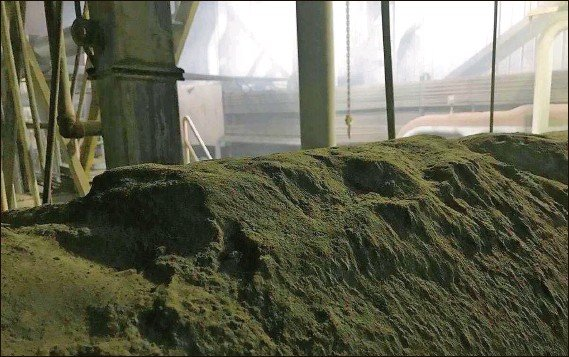 ?? Photo taken by Gopher worker ?? Mounds of lead dust collect in 2020 on a ventilation pipe overhead in the furnace department.