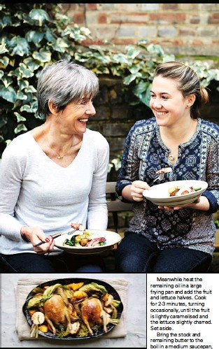 ??  ?? Keeping it in the family Giselle and Emily Roux tuck in to one of Emily's recipes, octopus salad with chilli mayonnaise