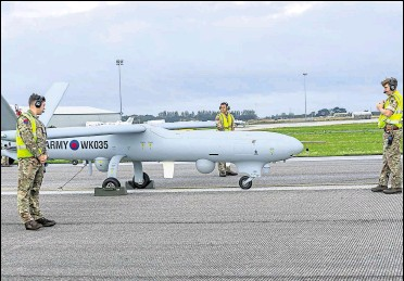 ?? Picture: Ministry of Defence ?? The military began using Watchkeepe­r drones to patrol the Channel in September