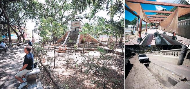 ?? FOTOS: EMILIO FLORES ?? (1) En el interior del parque hay estelas mayas y esculturas aztecas, lo que lo convierte en un lugar único de la ciudad. (2) Las carpas de las bancas están caídas por las lluvias. (3) Los drenajes se encuentran abiertos en varios tramos de los alrededores, convirtiéndose en trampas mortales.