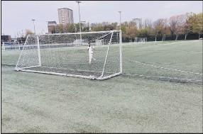 ??  ?? SPORTS COLLIDE A fielder retreives a cricket ball from the back of a goal