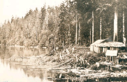 ?? COURTESY CITY OF VANCOUVER ARCHIVES ST PK N4.1 ?? Aboriginal shelters built of cedar slabs stood on the shores of what in 1868 was Coal Harbour and is now Lost Lagoon.