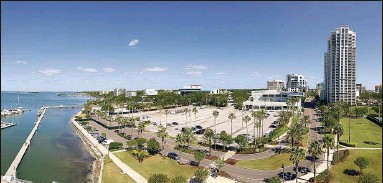 ?? JIM DAMASKE | Times ?? Imagine Clearwater would turn this parking lot next to Coachman Park into green space, walkways and an estuary.