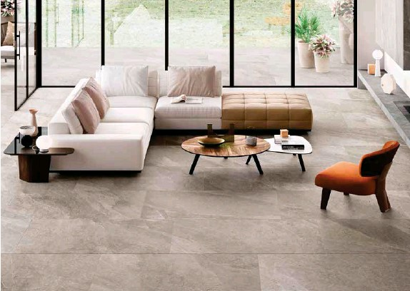 ??  ?? The Shale collection of porcelain stoneware tiles is available exclusively from Hafary in Singapore. Shown here is the mid-toned Greige shade.