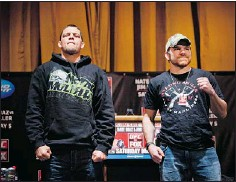 ?? — GETTY IMAGES ?? UFC lightweights Nate Diaz, left, and Jim Miller are the main event Saturday, to be carried on Fox.
