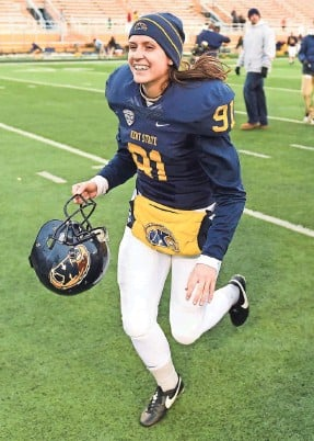 """?? DAVID DERMER, KENT STATE UNIVERSITY ?? """"She's a great student and a great ambassador for the program and for the university,"""" Kent State coach Paul Haynes says of April Goss, above."""