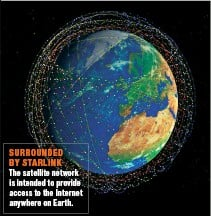 ??  ?? SURROUNDED BY STARLINK The satellite network is intended to provide access to the Internet anywhere on Earth.