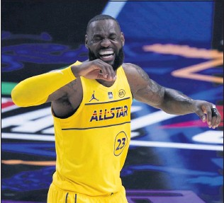 ?? BRYANN ANDERSON — THE ASSOCIATED PRESS ?? LeBron James played just 13 minutes in Sunday's NBA All-Star Game with his team enjoying a 170-150 win.