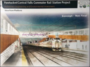 ?? Artist's rendering ?? A VHB rendering of the concept for the Pawtucket/Central Falls commuter rail station project.
