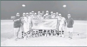 ??  ?? The Big Spring Senior League team poses with their District three championship banner.