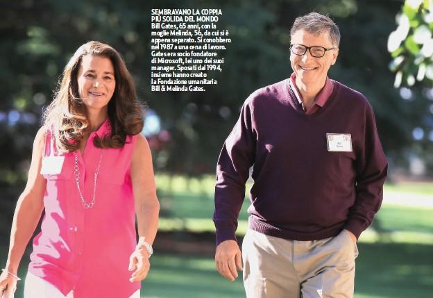 ??  ?? SEMBRAVANO LA COPPIA PIÙ SOLIDA DEL MONDO Bill Gates, 65 anni, con la moglie Melinda, 56, da cui si è appena separato. Si conobbero nel 1987 a una cena di lavoro. Gates era socio fondatore di Microsoft, lei uno dei suoi manager. Sposati dal 1994, insieme hanno creato la Fondazione umanitaria Bill & Melinda Gates.