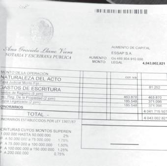 ??  ?? El presupuesto de la escritura presentado a la Essap.