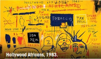 ??  ?? El art brut, o de origen marginal, también marcó su estilo frenético. Hollywood Africans, 1983.