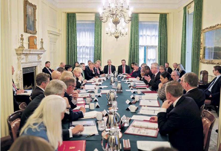 ?? PHOTOGRAPH: ANDREW PARSONS /NO 10 ?? The cabinet meeting yesterday – maskless despite Johnson's mask recommendation in enclosed areas