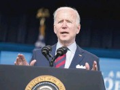 ?? EVAN VUCCI AP ?? President Joe Biden, speaking at the White House campus Wednesday, discusses the American Jobs Plan.