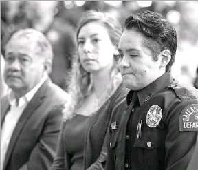 ??  ?? Almeida was given the Theodore Roosevelt Police Award on Thursday. She was shot in the face while making an arrest last year at a Home Depot — an incident in which her partner, Rogelio Santander, was shot and killed.