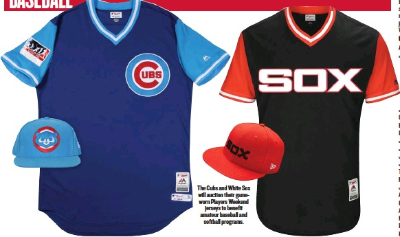 6e70b666668 The Cubs and White Sox will auction their gameworn Players Weekend jerseys  to benefit amateur baseball and softball programs.