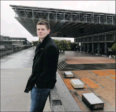?? RIC ERNST — PNG ?? SFU Student Society treasurer Keenan Midgley spearheaded a motion that will see $30,000 allotted to a men's centre at the Burnaby university.