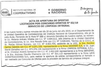 ??  ?? Acta de apertura de ofertas de la Licitación Nº 02/2019 del Instituto Nacional de Cooperativismo (Incoop), donde aparece Esmilce Karina Cabrera como representante de Davener SA.