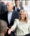 ?? AP/BRADLEY C. BOWER ?? Jill Biden joins her husband Monday in a surprise appearance at the Wilmington, Del., train station that the senator has used for years to commute to Washington.