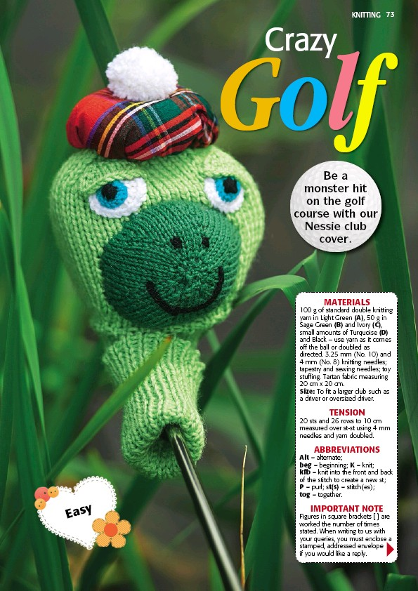 Pressreader The People S Friend 2018 05 26 Knitting This Nessie Golf Club Cover Is Sure To Be A Monster Hit