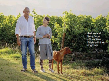 ??  ?? Andrew and Rozy Gunn of Iona Wine Estate with their dog Boris.