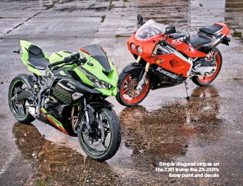 ??  ?? Simple diagonal stripes on the ZXR trump the ZX-25R'S fussy paint and decals