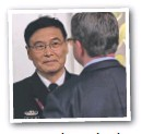 ??  ?? FACE-OFF: China's Admiral Sun Jianguo and US Defence Secretary Ashton Carter.