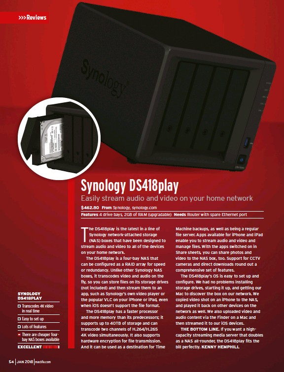 PressReader - Mac Life: 2017-12-12 - Synology DS418play