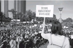 ?? ERIC RISBERG/ASSOCIATED PRESS ?? Google employees stage a walkout in San Francisco last month to protest what they say is the tech company's mishandling of sexual misconduct allegations against executives.