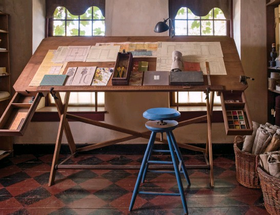 ??  ?? In Jan Hoffman and David Woodward's 18th-century home, their desk is covered with sketches for future projects.