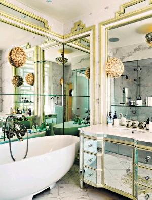 Retro glamour design by interior designer Sera Hersham-Loftus; below, Atlantic basin and washstand £1,695, by Fired Earth (firedearth.com)